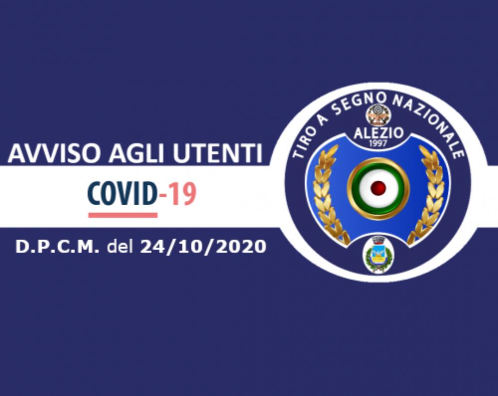COVID-19: Avviso importante D.P.C.M. del 24/10/2020