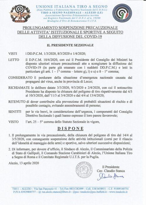 COVID-19 sospensione attività TSN Alezio